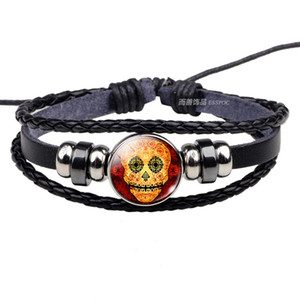 Sugar Skull Black Leather Bracelet Bangles Mexico Folk Art for Men Women Day of The Dead Punk Style Handmade Jewelry Accessories