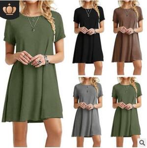 Casual Gevşek ArmyGreen Yaz Elbise 2017 Moda Katı Renkler Kısa Kollu Vintage Kadınlar Giydirme Plus Size S-3XL vestidos de festa