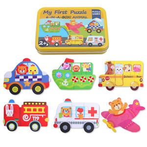 Kinder Puzzle Cartoon 3D Puzzle + Metall Eisen Box 3D Holz Puzzle Montessori Lernspielzeug Kinder Holzspielzeug
