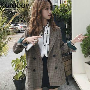 Korobov Coréen Vintage À Carreaux À Double Poitrine Vogue Femmes Blazer Casual À Manches Longues Auttum Nouvelle Mode Blazers Feminina 77805