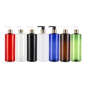 Altın Alüminyum Cap Losyon Şampuan Şişe Container Packaging Renkli Kozmetik PET Alüminyum Losyon Lüks Şişeler boşaltın 500ml