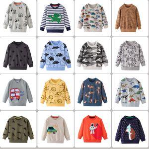 52 Estilos Primavera Otoño ropa de los muchachos para niños 100% algodón de manga larga dinosaurio coche lleno cebra imprimir gruesa camiseta chico causales niños frescos ropa Top