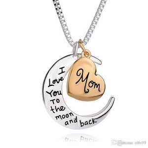 Nlm99 High Quality Heart Jewelry I love you to the Moon and Back Mom Pendant Necklace Mother Day Gift Wholesale Fashion Jewelry