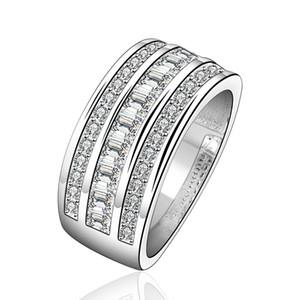 Anelli a fascia alla moda placcati argento tre file di zirconi S925 anello in argento eleganti semplici gioielli progettati regali di compleanno donne POTALA577