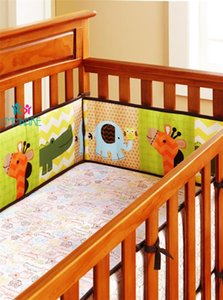 4pcs Animal Embroidery Newobrn Crib Bumper Safety Roll Cute Baby Bedding Kids Protective Fence around for Babies Christmas Gift