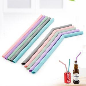 Cannucce per dolci in silicone color cannuccia Curva diritta Commestibile per bar Riciclaggio di succhi di frutta per la casa 7 6zy F1