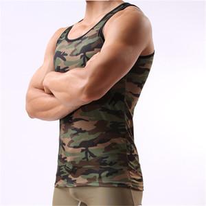 Cockcon Mens Vest Underwear Men Undershirt Sleeveless Slim Vest Camouflage Bodybuilding Fitness Bodysuit Singlet Mens Jumpsuit