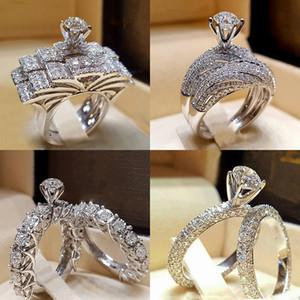 2pcs Nuptiale anneaux élégants pour les femmes Sliver couleur de fiançailles de mariage de la mode des bijoux avec pleine brillant Cubiz Zircon bague de femme