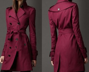 England woman trench coats Spring and Autumn long winter outwear coat double row buckle Slim max-long winter outwear windbreaker for women