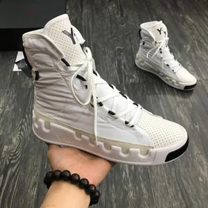 2019 Nueva Fashiony3 Zapatos Casual Botas Kanye West Y-3 Rojo Blanco Negro de alta superior Niños Mujeres Hombres zapatillas de deporte impermeable de cuero auténtico