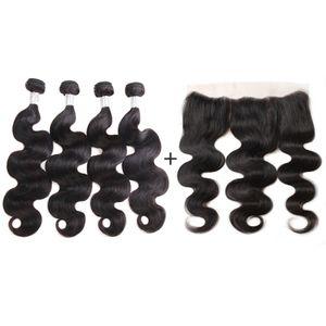 Nami волос бразильский объемная волна девственные пучки волос с 13x4 кружева Fronta закрытие 100% наращивание человеческих волос с ухо к уху закрытия