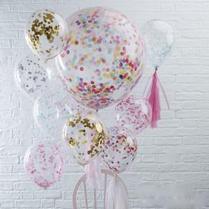 Suprimentos de 12 polegadas Confetti balões jogo da vara Multicolor látex Sequins Cheio Birthday Party Brinquedos Limpar Ballons crianças decorações de casamento