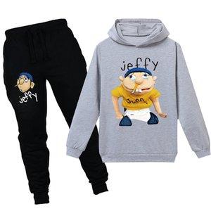 Teenmiro dos desenhos animados Jeffy Crianças Suit Sport meninos Vestuário Define meninas moletom com capuz Calças Crianças Treino Outfit adolescentes capuz