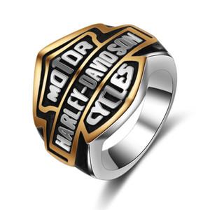 Punk alta quanlity letra titanium anéis jewerly personalidade popular motocicleta anéis de rock das mulheres dos homens anéis harley atacado transporte da gota