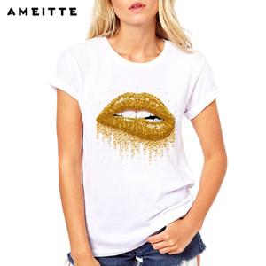 AMEITTE 2019 Summer Tops Gold Mouth Yellow Lip Stampa T-Shirt Base O-Neck Manica corta Donna Tshirt T-Shirt bianca All-match