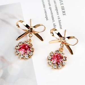 Moda Feminina Brinco 2018 Outono e inverno arco de ouro e brincos de diamante personalidade luxo temperamento brincos de zircão