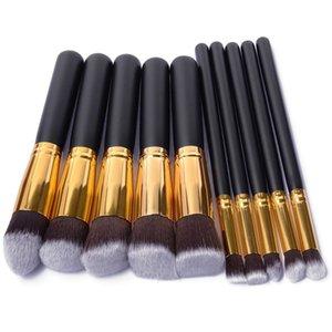 10 Pcs Mulheres Profissionais Pincéis de Cosméticos Set Pó Eyeshadow Fundação Rosto Blushes Nova Maquiagem Beleza Kits Ferramentas MV99