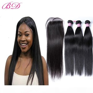 BD Peruvian Straight Human Hair Remy Weaves Malaysian Brazilian Indian Double Weft 3 Bundles With Frontal Closure With a Gift For Women