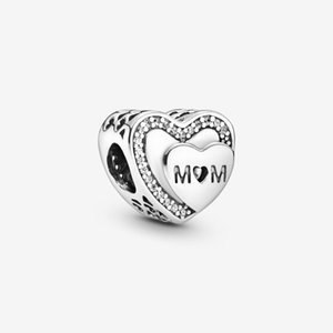 New Arrival 100% 925 Sterling Silver Sparkling Mom Heart Charm Fit Original European Charm Bracelet Fashion Jewelry Accessories