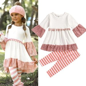 Baby Clothing Sets Girls Lace Flare Half Sleeved Tassel Dress Top + Striped Printed Pants 2pcs set Fashion Kids Boutique Clothing