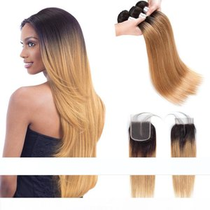 H Pre -Colored Raw Indian Hair 3 Hair Bundles With Closure 1b 27 Ombre Blonde Straight Human Hair Weaves Bundles With Closure 100 %Huma