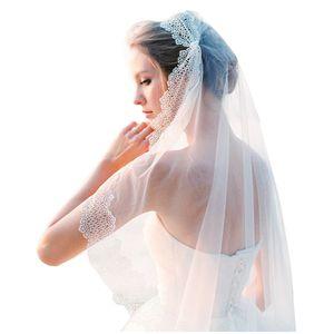 عالية الجودة Viels الزفاف مع لآلئ تول لينة مع حافة الرباط جديد وصول العاج 1.5 * 1.5M الزفاف الحجاب اكسسوارات الزفاف