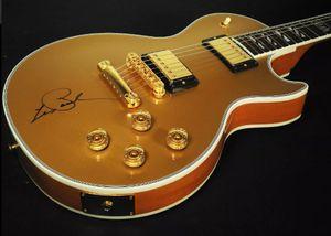 Custom Shop 1959 90e anniversaire Gold Top Supre Guitare électrique No Back Cover, MOP Inlay Bloc de Split, Globe Headstock Inlay, Matériel d'or