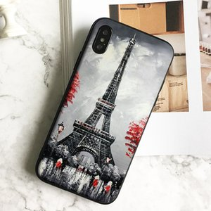 Capa Luxury Eiffel Tower Painting Phone Case for iPhone 11 Pro Xs Max Xr 8 7 6s Plus 5 SE Case Soft Black TPU Silicone Cover.