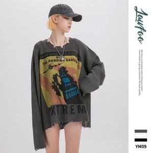 2020 new popular logo broken down high street neck loose printing couple fur garment unlined upper garment