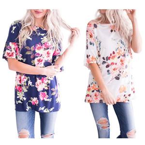2019 Mode Femmes d'été à manches courtes T-shirt imprimé floral Tunique Casual Loose Fit Tops Chemisier