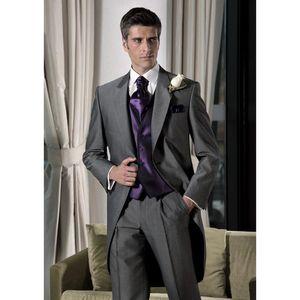 Terno terno de três peças dos homens (jaqueta + calça + colete) dos homens único fivela arma colarinho gola terno vestido de casamento noivo personalizado