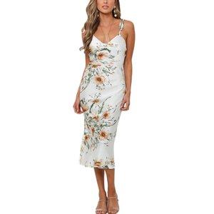 여자 보헤미안 롱 꽃 드레스 여름 여성 민소매 끈으로 드레스 파티 저녁 캐주얼 여성 의류 패션 새로운 드레스