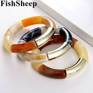 FishSheep New Gold Acrylic braccialetti dei braccialetti per le donne in resina Stretch curvo in rilievo del tubo dei monili di fascino del braccialetto di modo