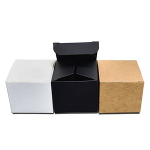 4x4x4cm 3 Colored Kraft Paper Packaging Box Foldable Face Cream Packing Paperboard Boxes Jewelry Gift DIY Package Box 50pcs lot