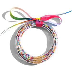 Мода Желе Браслеты Блеск браслеты для женщин Всей девушек погоды Бисера Заполненных Пластикового Bowknot Bohemian лента силикон радуга ювелирных изделия
