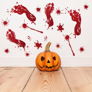 할로윈 벽 스티커 빨간 발자국 손 인쇄 문 스티커 공포 혈액 틀 창 스티커 Halloween Party Home Decoration DBC VT0555