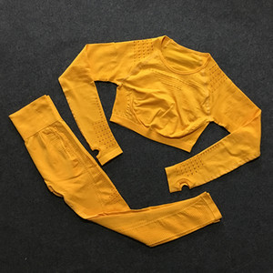 2 Stück Gym Set Workout Kleidung für Frauen Flawless Knit Langarm Compression Crop Top + Nahtlose Leggings Yoga 2-teiliges Set