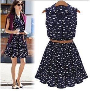 Women Summer Dress cat Chiffon Sleeveless Beach Casual blue Sundress 2020 Fashion Plus Size Dress For Women