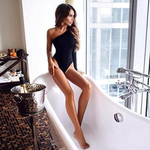 Negro de un hombro Básica Body de punto acanalado elegante mujeres atractivas otoño Body Moda manga larga flaco Bodysuit ropa