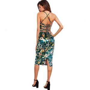 Vestido de festa Vestidos Vestido Mulheres Lace Up Floral vestido de veludo Botânico Mulheres Sexy Cami Midi Vestidos Verão Verde elegante da festa Bodycon