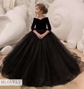 Black Princess Ball vestido para niños vestido de concurso con elegantes mangas media para niñas de 5 a 14 años