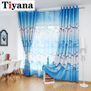 Tiyana Cartoon Blue Dolphin Vorhänge für Wohnzimmer Blackout Stoff Lila Tulle Curtais für Jungen-Mädchen-Kinder Schlafzimmer HP067X