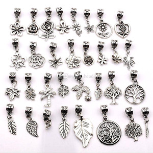 Grosses soldes ! 160pcs argent antique mélangé fleurs, arbres, feuilles Dangle Beads Fit European Charm Bracelet 32- style (p17)