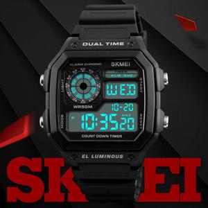 Chegada nova SKMEI Moda Esportes Relógios Homens À Prova D 'Água Contagem Regressiva PU Strap Watch Alarm Masculino Relógio Digital LED Relógios de Pulso Relogio masculino