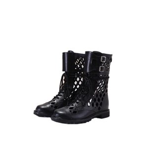 2020 new fashion women's shoes cross mesh upper metal belt buckle thick heel short boots embroidery bee women's boots increased by 3cm