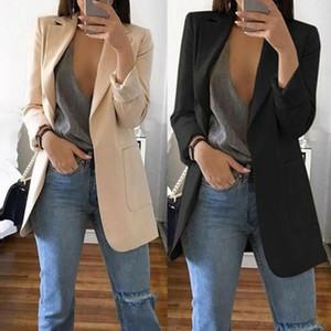 2020 Новое прибытие женщины дамы с длинным рукавом Кардиган Тонкий куртки костюм пальто Работа куртка Повседневный Mid пальто отворотом