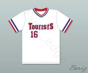 Wholesale Kevin Costner Crash Davis 16 Tourists Baseball Jerseys Bull Durham Baseball Jerseys The Sandlot Black Grey White Stitched Shirt