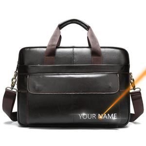 Briefcases 2021 Vintage Handbag Free Name Printing Genuine Cow Leather High Quality Casual Shoulder Crossbody Messenger Bag For Men