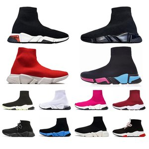 Designers Speed Trainers Top Quality Socks Casual shoes for men women Clear Sole Triple black white green Grey Pinks Outdoor Sneakers
