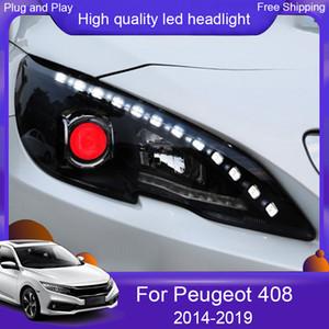 2ST Autoscheinwerfer für Peugeot 408 Scheinwerfer 2014-2019 für Peugeot ALL LED-Scheinwerfer DRL Tageslichtobjektiv Double Beam Carstyling
